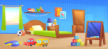 Kid Boy Room Interior Design Banner. With Bed, School Board, Book And Toys.