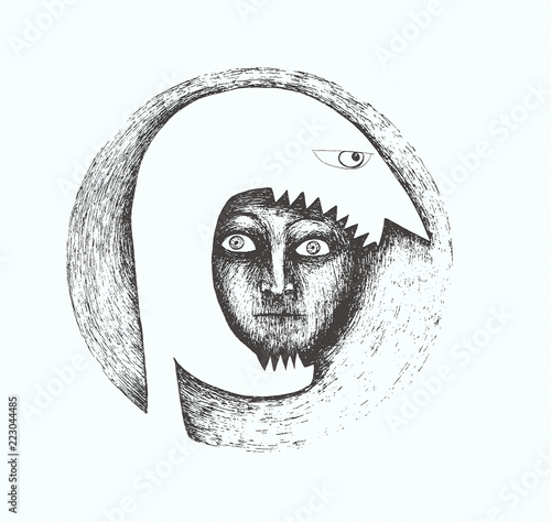 Beautiful black and white stylized illustration made by hand and revisited with effects that represents a face in profile that eats another face
