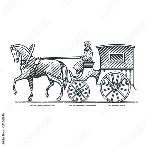 Foto Vintage cab. Hand drawn engraving style illustration.