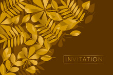 Brown And Gold Leaves Pattern Vector Illustration