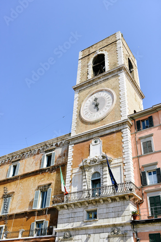 Fotografia, Obraz civic tower of the government building in piazza plebiscito, Ancona Italy