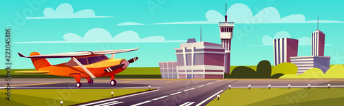 Photo Vector cartoon illustration, yellow light aircraft on runway