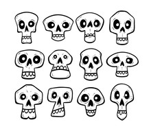 Hand Drawn Skull Collection. Funny Cartoon Skulls Isolated On White Background. Vector Illustration.