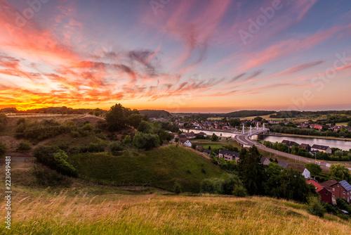 Keuken foto achterwand Lavendel Beautiful sunset with hillside view in the small rural village of Kanne in Belgium.