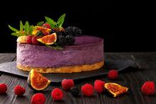 Blueberry Cheesecake Black Background