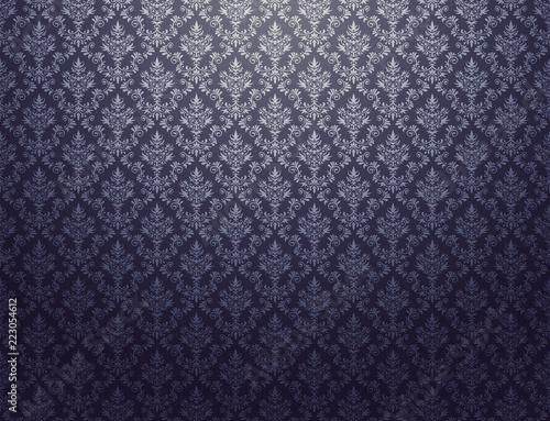 czarna-tapeta-ze-srebrnym-wzorem-adamaszkowym
