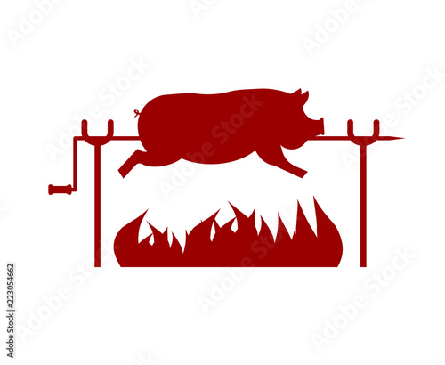 Roasted Pig on spit. Pork on fire. Vector illustration Canvas-taulu