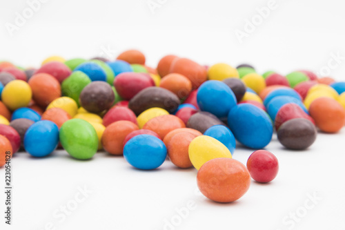 Printed kitchen splashbacks Cat sweets of vibrant colors isolated in white background