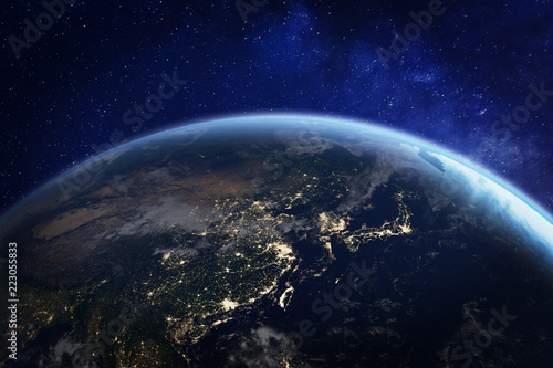 Asia at night from space with city lights showing human activity in China, Japan Wallpaper Mural