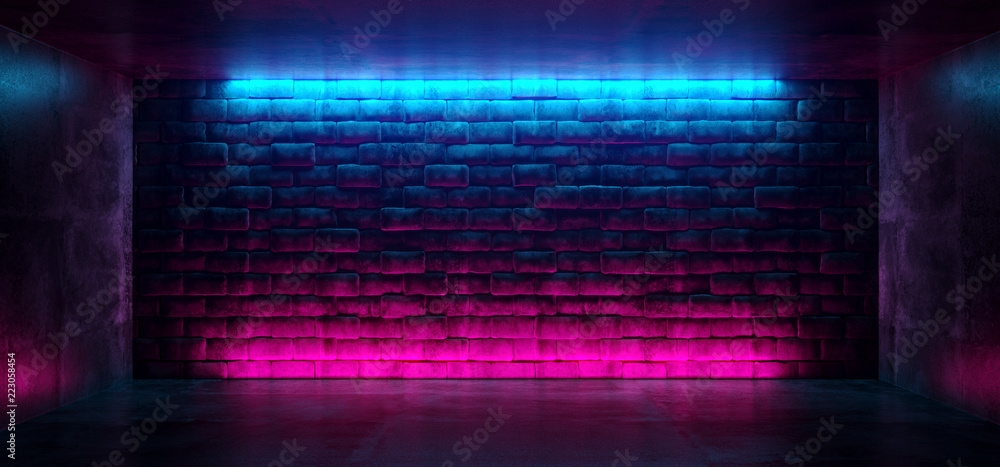 Fototapety, obrazy: Modern Futuristic Neon Club Purple And Blue Lighted Empty Space Old Grunge Stone Bricked Detailed Wall In Room Wallpaper Background 3D Rendering
