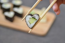 Eat Heart Shaped Sushi With Cu...