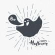 Halloween greeting card vintage label, Hand drawn sketch ghost, grunge textured retro badge, typography design t-shirt print, vector illustration