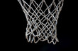 canvas print picture - Empty Swooshing Basketball Net Close Up with Dark Background