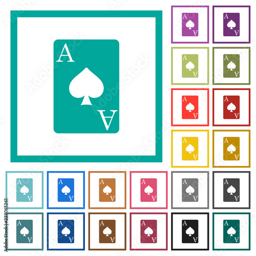 Photo  Ace of spades card flat color icons with quadrant frames