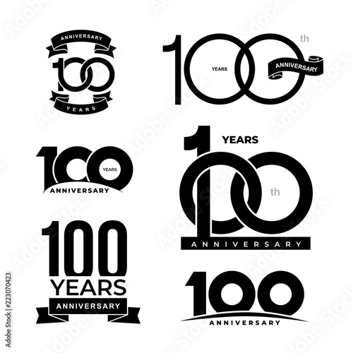 Fotografia  Set of 100 years anniversary icon