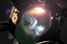 View Through The Space Ship Illuminator Of Astronaut In Open Spacce With Flare Frome The Star (image Elements Were Taken From NASA Photo Gallery) D