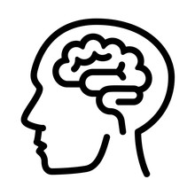 Human Think Brain Icon. Outlin...