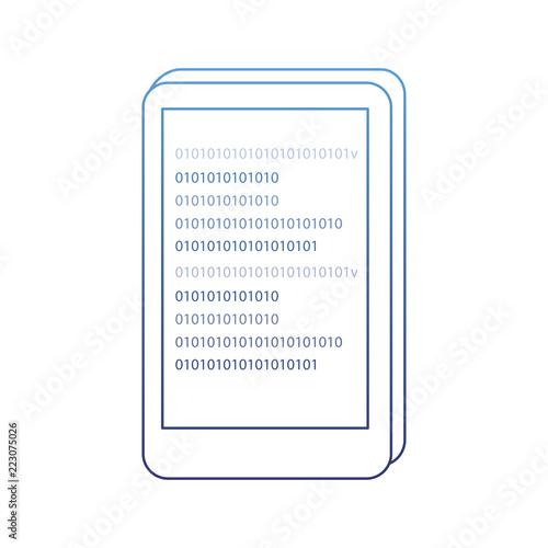 Fototapety, obrazy: degraded outline smartphone code program data network technology