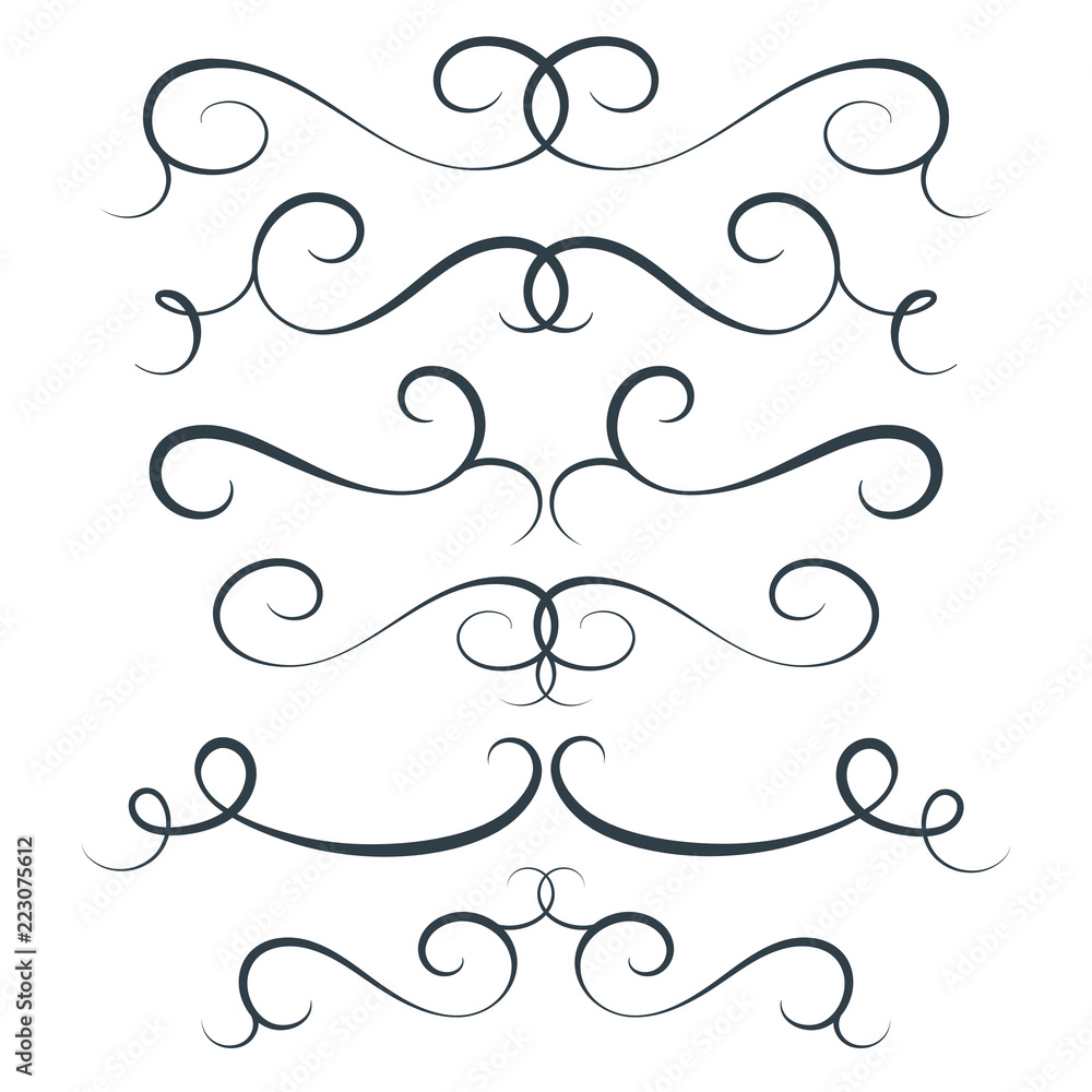 Fototapety, obrazy: Vector flourish set, scroll collection, curl decoration elements, vintage top and bottom decor