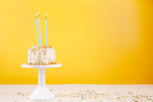 Birthday Cake With Candles. Birthday Party Celebration Concept