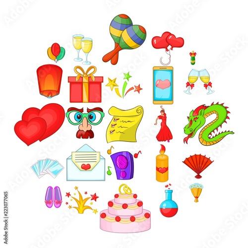 Fotografie, Obraz  Partying icons set