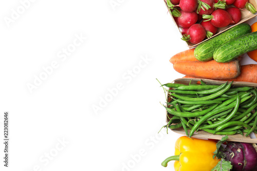 Assortment of fresh vegetables on white background, top view. Space for text