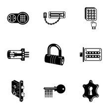 Latch Icons Set. Simple Set Of...