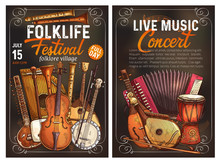 Folk Music Festival Poster Wit...