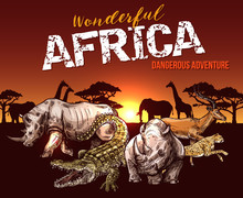 African Safari Animals And Reptile Sketch