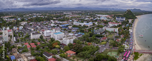 Staande foto Asia land prachuap khiri khan - june24,2016 : aerial view of prachuap khiri khan province one of southern town in thailand ,prachuap is narrowest and longest province in thailand