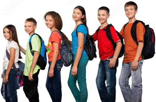 Obraz Portrait of Children with Backpacks - fototapety do salonu