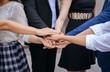 Business join hands success for dealing,Team work to achieve goals,Hand coordination