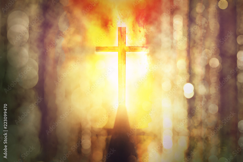Fototapety, obrazy: silhouette of burning cross with rays of sunlight background