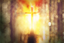 Silhouette Of Burning Cross Wi...