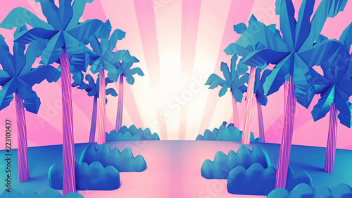 Foto op Aluminium Groene koraal Carton tropical jungle. 3d rendering picture.