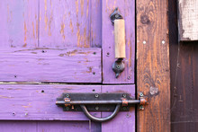 Purple Painted Dutch Split Shed Door's Gate Lock And Iron Handle Hardware
