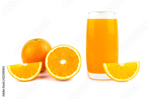 Slices of orange and glass of orange juice on White Background