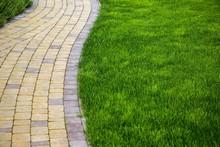 Sidewalk Made From Pavers Runn...