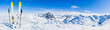 canvas print picture - Ski in winter season, mountains and ski touring equipments on the top in sunny day in France, Alps above the clouds.