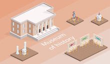 Museum Building And Exhibition Isometric Vector Illustration. Isolated Gallery Elements With History Pictures And Exhibits Of Warrior Armor Or Antique Culture Architecture On Pedestal Stands