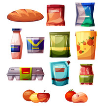 Grocery Products From Supermarket Or Store Vector Illustration. Isolated Set Of Bread, Milk Or Yogurt Bottle, Eggs In Carton Box Package, Ketchup, Mayonnaise And Juice Pack With Fruits And Vegetables