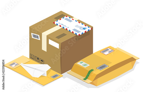 Vector realistic isometric illustration, a set of postal parcels, packages, regi Fototapeta