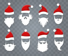 Santa Hats And Beards. Vector Santa Xmas Face With Hat Or Cap And Christmas Beard