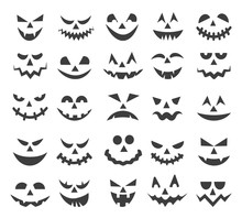 Halloween Ghost Faces. Scary P...