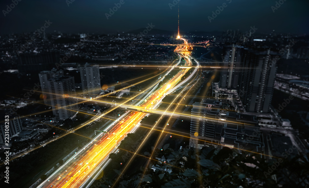 Fototapety, obrazy: Communication network and traffic light on highway .Concept of smart city network, internet communication and digital traffic management system .
