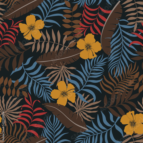 Foto op Canvas Kunstmatig Tropical background with palm leaves and flowers. Seamless floral pattern. Summer vector illustration