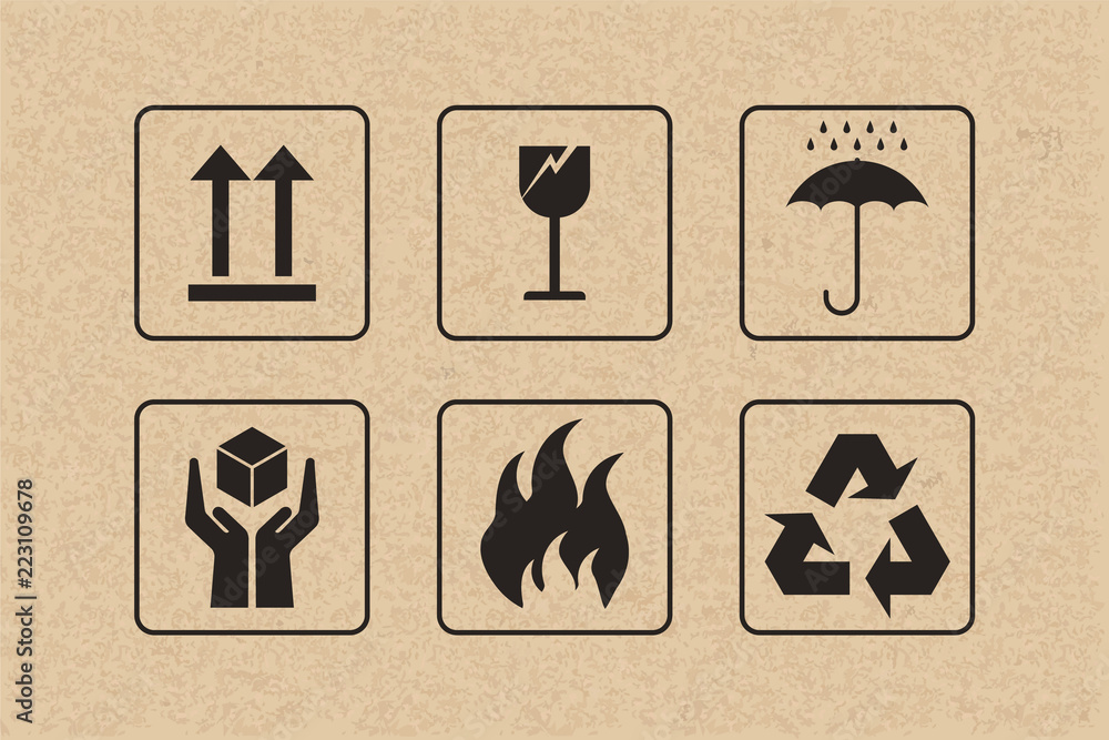 Fototapeta Packaging icon set of fragile care sign and symbol on brown cardboard background. Vector.