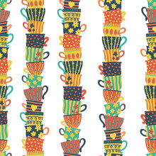 Seamless Pattern Piles Of Stacked Colorful Cups. Colorful Background With Tea Mugs. Hand Drawn Vector Illustration. For Menu, Cafe, Restaurant, Bar, Poster, Fabric, Wrapping, Banners, Scrapbooking