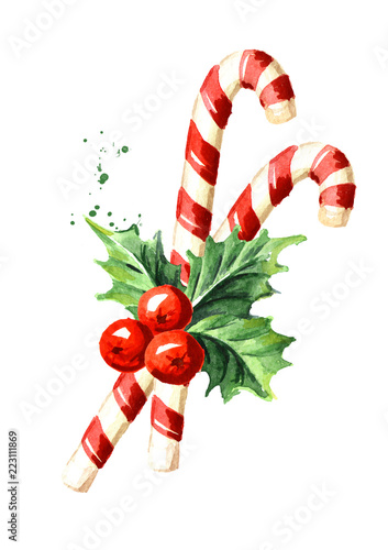 Christmas Candy Cane.Christmas Candy Cane With Holly Berry Watercolor Hand Drawn