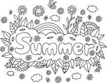 Coloring Page For Adults With Mandala And Summer Word. Doodle Lettering Ink Outline Artwork. Vector Illustration